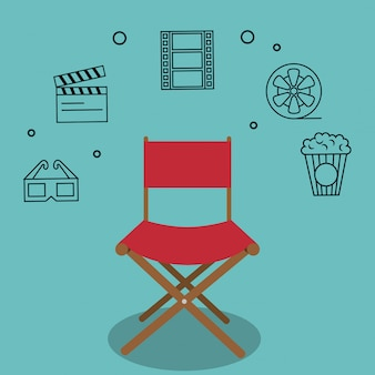 Cinema director chair with icons