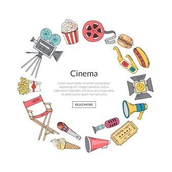 Cinema doodle decoration in circle shape
