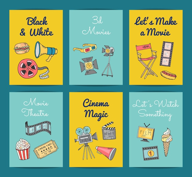 Cinema doodle icons card and banners templates set illustration