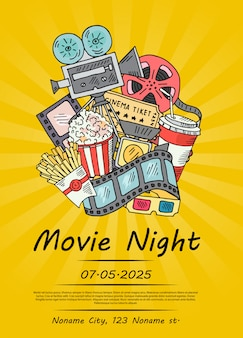 Cinema doodle poster for movie night or festival