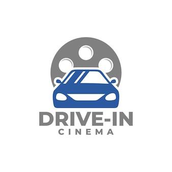 Cinema drivein logo car vector movie vector