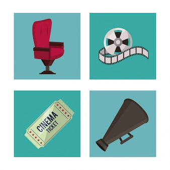 Cinema elements in frames as chair ticket reel and megaphone