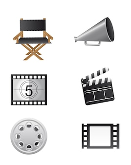 Cinema elements isolated over white background vector