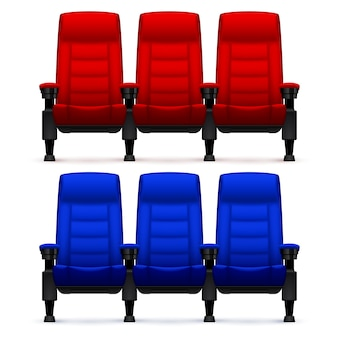 Cinema empty comfortable chairs. realistic movie seats vector illustration