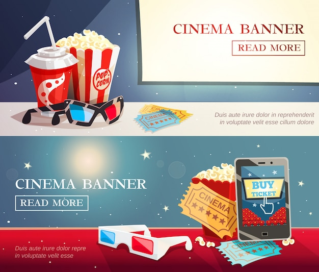 Cinema entertainment flat horizontal banners