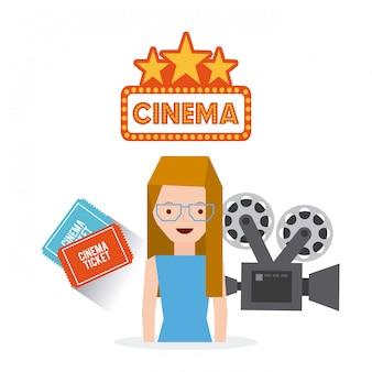 Cinema entertainment set flat icons