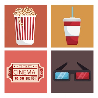 Cinema entertainment set icons