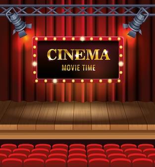 Кинотеатр со стульями и демонстрацией сцены