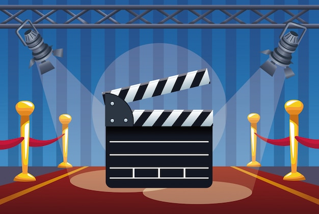Cinema entertainment with clapperboard and lamps illustration