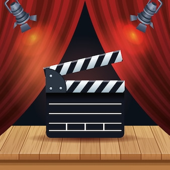 Cinema entertainment with courtain and clapperboard