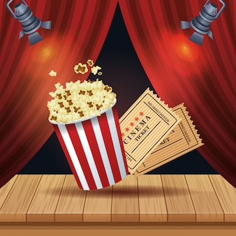 Cinema entertainment with pop corn and tickets illustration