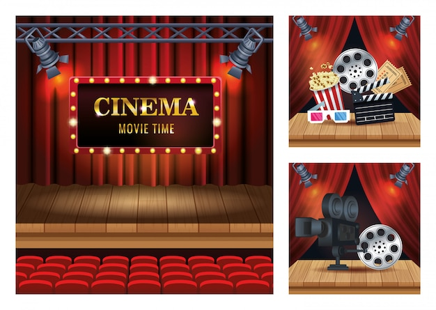 Cinema entertainment with set scene icons illustration