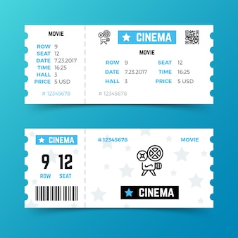 Cinema entrance ticket vector template in modern minimalist style