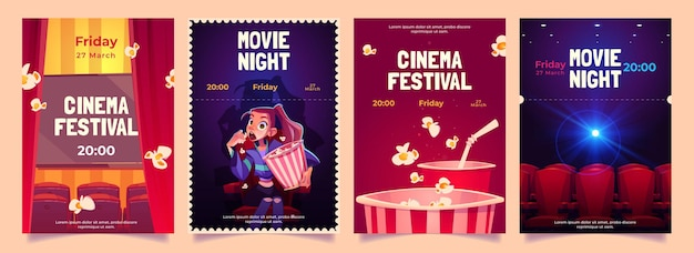 Cinema festival, movie night cartoon flyers set.