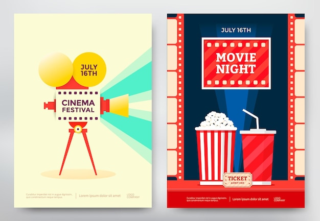 Cinema festival and movie night poster template