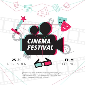 Cinema festival poster with camcorder silhouette in center and attributes of film industry
