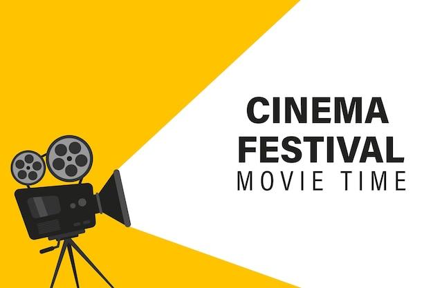 映画用カメラ付きの映画祭のポスター。映画の時代のコンセプト。言葉の映画の時間と映画の背景。三脚の映画用カメラ。フィルムリール付きプロジェクターはバナーやポスターに使用できます