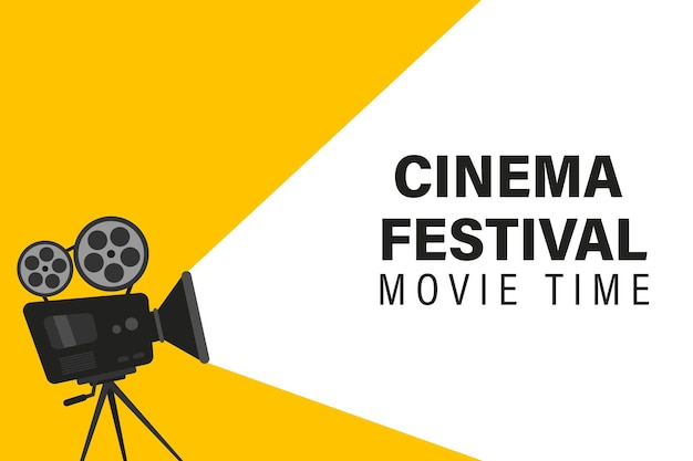 Cinema festival poster with movie camera. concept of the time of the film. movie background with words movie time. movie camera on the tripod. projector with film reels can used for banner and poster