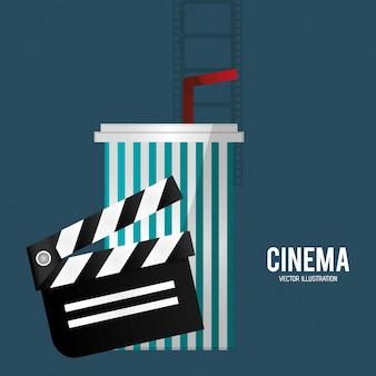 Cinema film clapper soda with straw