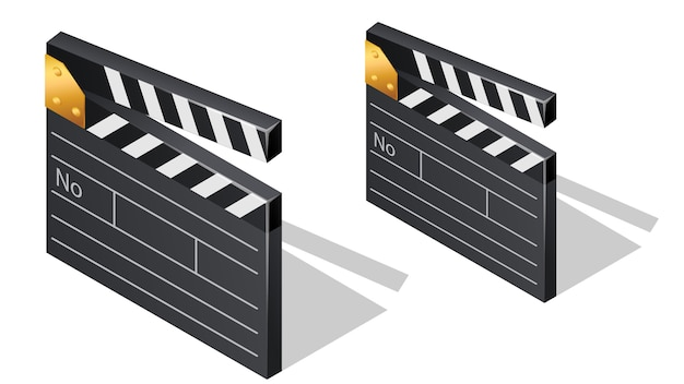 Cinema film clapperboards isometric icons