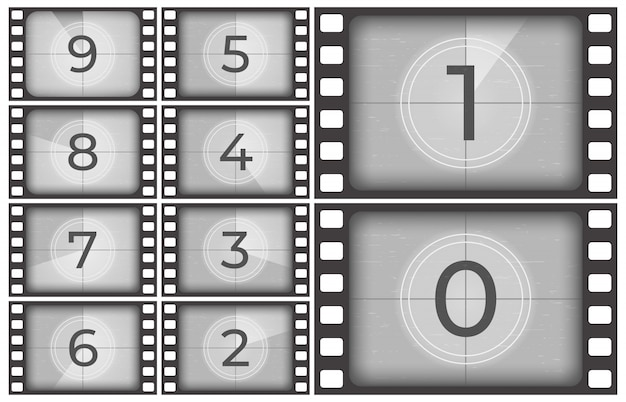 Cinema film countdown, old movie films strip frame, vintage intro screen counting numbers or retro timer frames