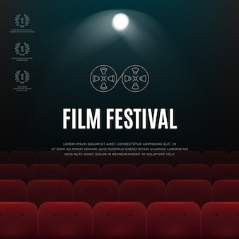Cinema, film festival vector abstract poster, background