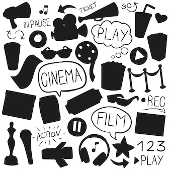 Cinema film silhouette shape clip art designs