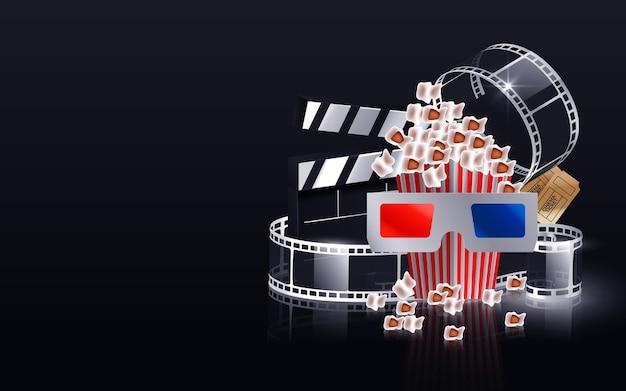 Onda di striscia di pellicola cinematografica, bobina di pellicola, occhiali 3d e ciak isolato sul nero