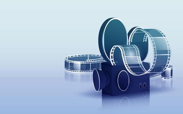 Onda di striscia di pellicola cinematografica, bobina di pellicola e ciak isolato su bianco