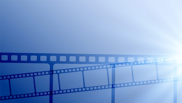 Cinema film strips blue background