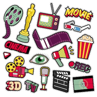Cinema film television patches, badges, stickers set with camera, tv, tape.  doodle in comic style
