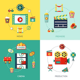 Cinema flat set elements composition