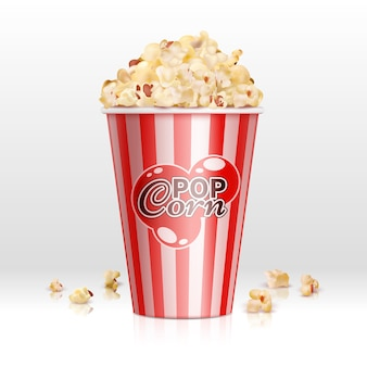 Cinema food popcorn in disposable bowl realistic vector illustration. popcorn box, snack food in container for cinema
