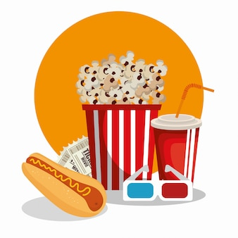 Cinema food with glasses 3d