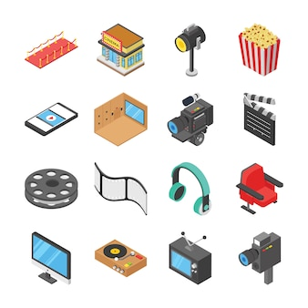 Cinema hall and movie making icons