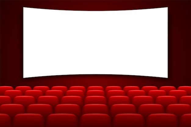 Cinema hall with white screen and red chairs