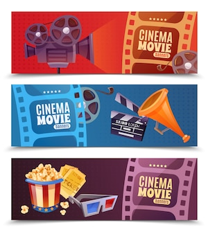 Cinema horizontal banner set