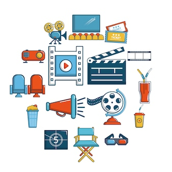 Cinema icon set symbols, cartoon style
