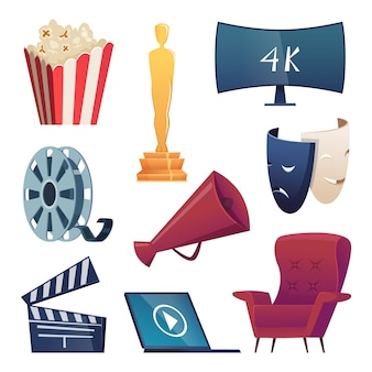 Cinema icons. entertainment cartoon symbols 3d glasses snacks camera popcorn megaphone comedy masks clapper  pictures