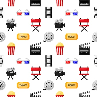 Cinema icons pattern seamless. signs and symbols collection icon for websites with white background.