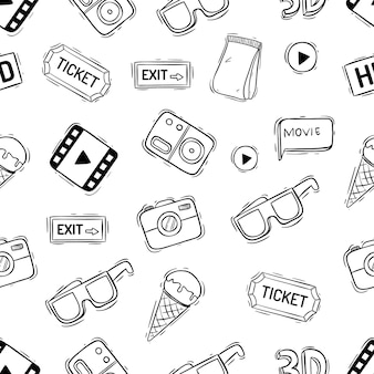 Cinema icons in seamless pattern with hand drawn or doodle style