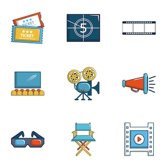 Cinema icons set, cartoon style
