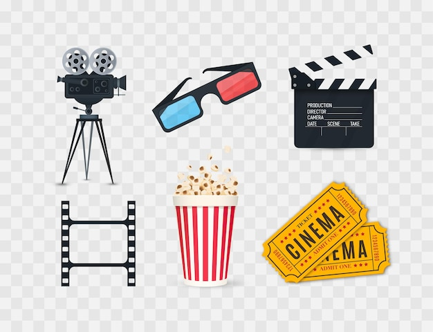 Cinema icons set isolated on white background film industry objects tickets popcorn film strip