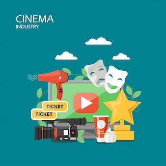Cinema industry  flat style design illustration