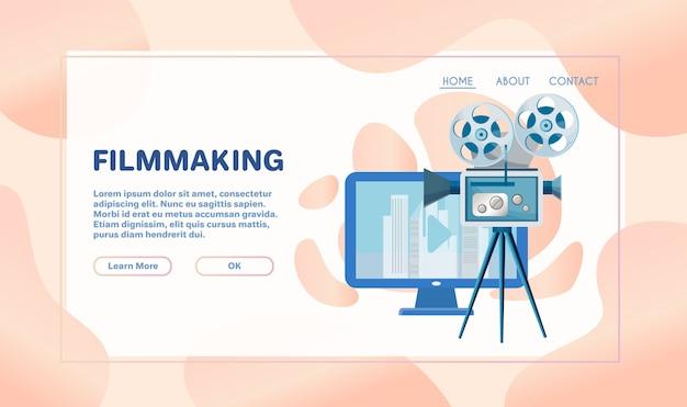 Киноиндустрия. режиссер, оператор, звукорежиссер и актриса персонажей. действие фильма, съемка рекламы.