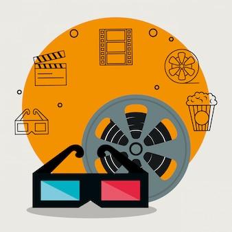 Cinema industry set icons