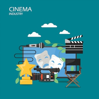 Cinema industry vector flat style illustration
