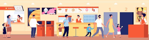 Cinema interior. theater cafeteria, movie audience. people in waiting room buy tickets pop corn or snack in bar vector illustration. cafeteria in cinema entertainment, auditorium and cinematography