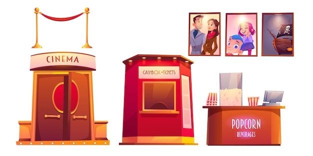 Cinema interior with cashbox and popcorn shop