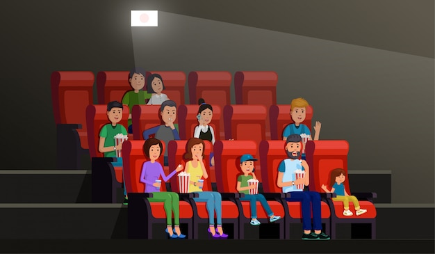 Cinema interior with people eating popcorn and enjoying film in picture palace